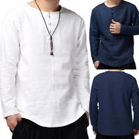 Men Chinese Kung-Fu Solid Cotton Slim Long Sleeve Casual Smart Shirt Tops Blouse