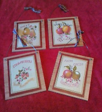 4 Fruit Pictures Pears Apples Peaches Strawberries Kitchen Decor  Wall Hangings