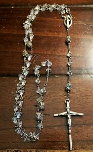 Vintage Creed Sterling Silver Rosary Necklace with Crystal Clear Beads