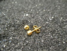 12 Pairs 3mm Traditional BALL Shape PIERCING Studs Earrings GOLD - STERILIZED