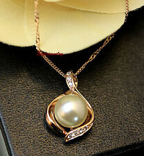 Rose Gold Filled White Pearl Teardrop Made With Swarovski Crystal Necklace N218