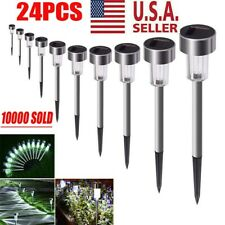 24 Garden Outdoor Stainless Steel LED Solar Landscape Path Lights Lamp