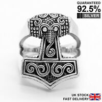 925 Sterling Silver Thor's Hammer Mjolnir Norse Viking Ring ✔️Solid ✔️Quality