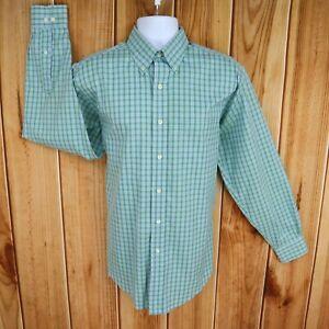 Brooks Brothers Dress Shirt Mens M Green Blue Checks Non-Iron Button Down Collar