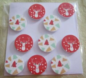 Wooden Buttons!  XMAS THEME!!  25mm wide & Qty 10  **NEW**  Assorted Designs [W]