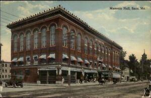 Saco ME Masonic Hall & Street Scene c1910 Postcard