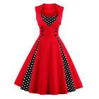 Pleated Polka Dot Rockabilly Dress Pin Up Swing 50s 40s Retro Vintage PLUS SIZE
