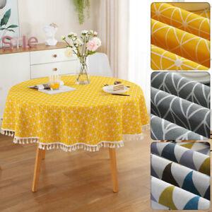 Nordic Cotton Linen Round Table Cloth Tassel Trim Geometric Dining Room Decor