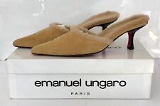 Emanuel Ungaro Retro Mules. Camel Suede & Lamb. 2.5 Inch Heel. W/ Box. Sz. 9