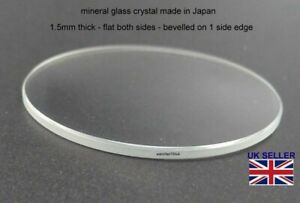 Watch Glass Crystal Lens 17mm-40mm 1.5mm thick Fits Seiko Citizen Fossil etc