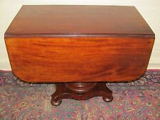 19TH C CLASSICAL EMPIRE MAHOGANY ANTIQUE DROP LEAF BREAKFAST / DINING TABLE ~ MA