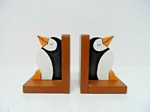 Wooden Penguin Book End's   B35