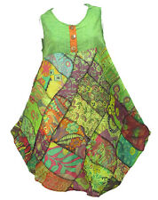Peasant Boho Hippie Patchwork Sleeveless Colourful Cotton Dress  YP447