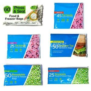 Food Fridge Freezer Bags Zip lock Large, Medium & Small, Tie Handle, Resealable