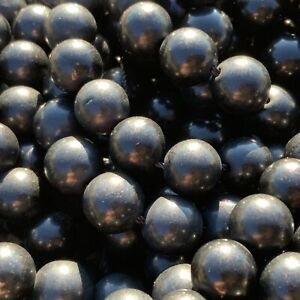 8mm Natural A Grade Shungite 48 Round Beads 0.8mm Hole