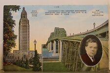Louisiana LA Baton Rouge State Capitol Huey P Long Bridge Postcard Old Vintage