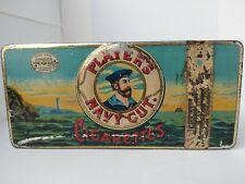 Antique Original PLAYERS NAVY CUT TOBACCO CIGARETTES Tin Metal Box & Tax Sticker