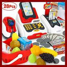 Pretend Play Smart Cash Register Toy Kids Cashier W Checkout Scanner Fruit Card