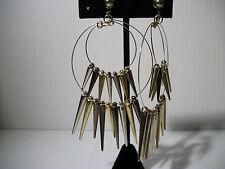 """4"""" multi spike hoops clip on earrings basketball wives Jewelry non pierced"""
