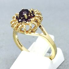 "9CT YELLOW GOLD GARNET *ROPE CROWN* BIRTHSTONE DRESS RING SIZE ""M½""  1434"