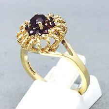 """Oro Amarillo 9 CT Granate * Cuerda Corona * Vestido de Piedra Anillo Tamaño """"M 1/2"""" 1434"""