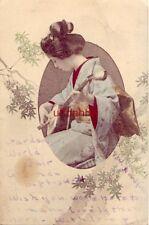Beautiful pre-1907 GEISHA PLAYING SHAMISEN 1904