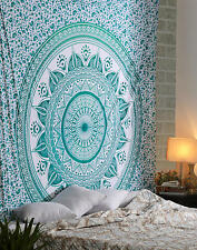 Green Star Mandala Wall Hanging Bedding Bed Cover Bed Sheet Hippie Twin Tapestry