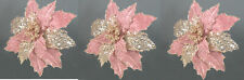3 x Rose & Gold Poinsettia Picks Clip on Christmas Tree Decorations