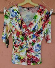 Cable & Gauge Womens Sz XL Blouse Top Shirt Short Sleeve V Neck