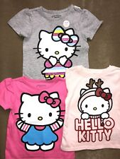 3 New HELLO KITTY  kid's girl's Toddler  T-shirt Tee Old Navy 12-18 M Grey Pink