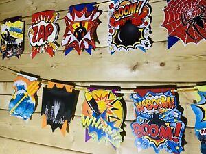 SUPERHERO AVENGER Theme ❤️Celebration Bunting Banner Birthday Fun 3-4m 💙❤️