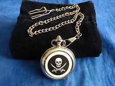 PIRATE SKULL AND CROSS BONES CHROME POCKET WATCH WITH CHAIN (NEW)