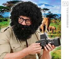 Mens Black Afro Wig & Beard Troll Alan From The Hangover Explorer Fancy Dress