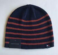 9b72f4b4201e4 NWT Mens Tommy Hilfiger Acrylic Beanie Ski Hat Skull Cap Navy Orange Striped