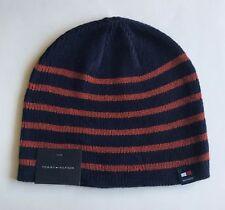72553bf166d43 NWT Mens Tommy Hilfiger Acrylic Beanie Ski Hat Skull Cap Navy Orange Striped