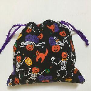 Halloween Pumpkins Cats Cotton Fabric Drawstring Bag. Black Trick or Treat Bag