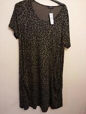 Yours Clothing Khaki Animal Print Drape Pocket Dress. UK24 EUR52  NWT RRP €37