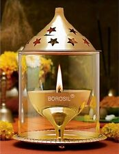 1 x Borosil Akhand Medium Diya Diva Deepak Jot Jyot Oil Lamp Include Cotton Wick
