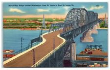 Mid-1900s MacArthur Bridge over the Mississippi River, St. Louis, MO Postcard