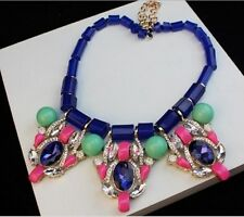 New Design Inspired Luxury Crystal Rainbow Statement Bib Necklace Party P27