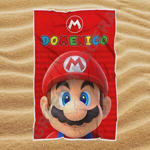 Asciugamano Telo Mare Mario Bros con Nome Personalizzato regalo bambino estate