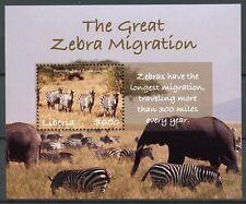 Liberia 2018 MNH Great Zebra Migration 1v S/S Elephants Zebras Animals Stamps