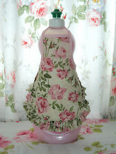 Pink Roses on Ecru Shabby Victorian Chic Ruffle Dish Soap, Lotion Bottle Apron