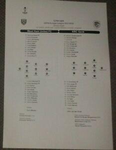 West Ham United v KRC Genk Team Sheet 21/10/2021 NEW - Europa League