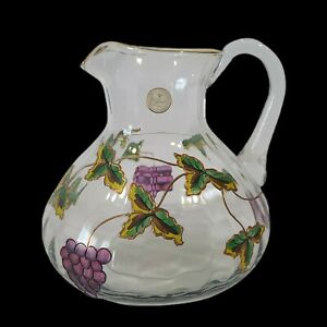 """VTG Handcrafted Crystal Clear Pitcher Grape Motiff Gold Trim Made in Romania  8"""""""