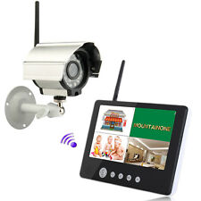 "Wireless 4CH Qiad DVR Outdoor Camera 9""TFT LCD Monitor Home CCTV Security System"