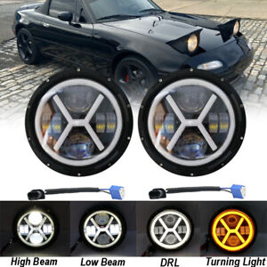 For Mazda Miata MX5 MX-5 90-97 H6024 2X Full LED Headlight Lights Halo Angel Eye