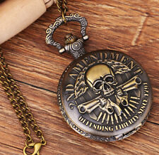 Antique Skull double gun bronze charm steampunk quartz pocket watch necklace.