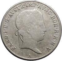1840 Austria Emperor FERDINAND I Antique Silver Coin 20 Kreuzer Eagle i49125