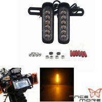 Motorcycle Dual 6LED Auxiliary Turn Signal Brake Light With Offset Mounting Kit